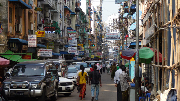 the streets of Yangon