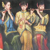 3 Asian chicks blow flutes