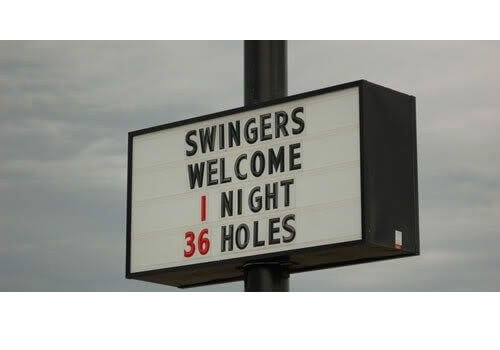 swingers welcome sign